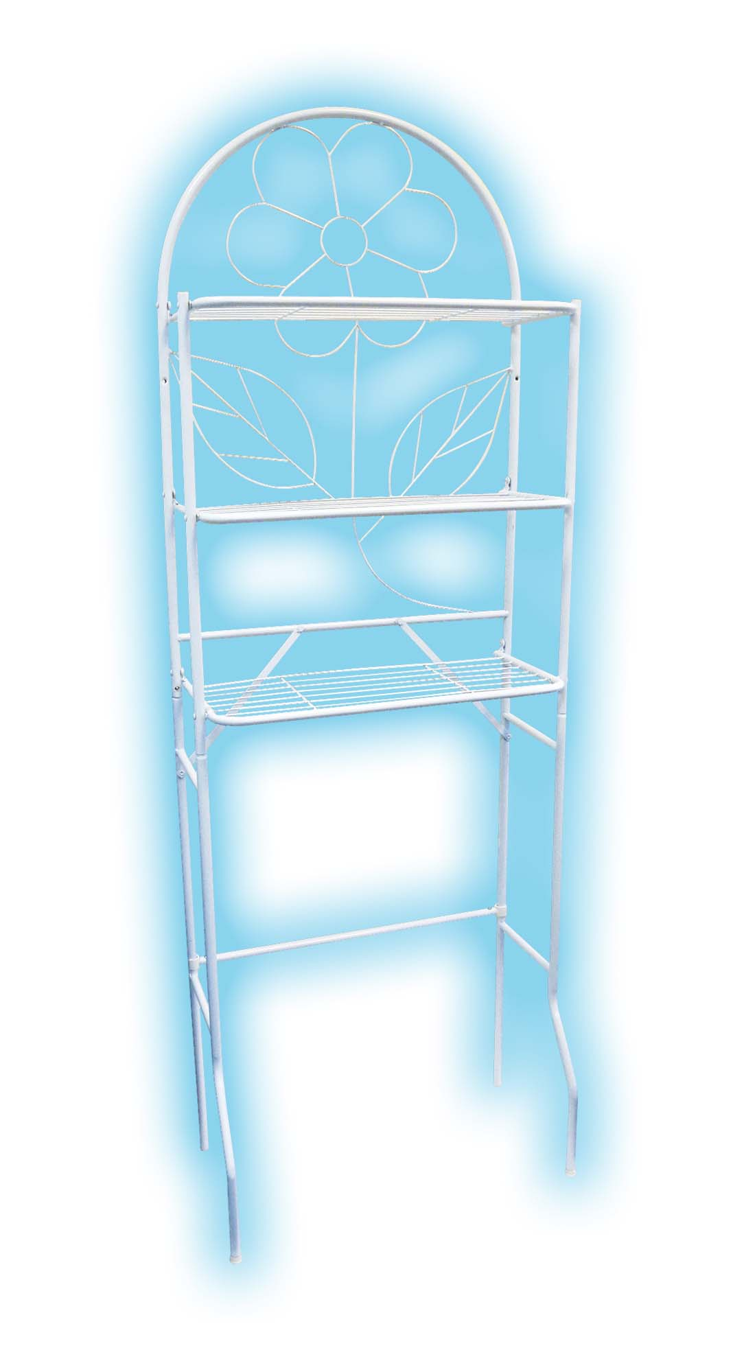 View BATHROOM SHELVING UNIT 23.75 X 13 X 69 INCH 3 SHELVES WHITE