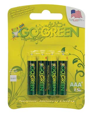 "View GO GREEN BATTERIES 4 PACK ""AAA"" HEAVY DUTY"