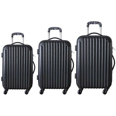View ABS LUGGAGE 3 PC WITH 360 DEGREE SWIVEL WHEELS-20 & 24 & 28 INCH BLACK