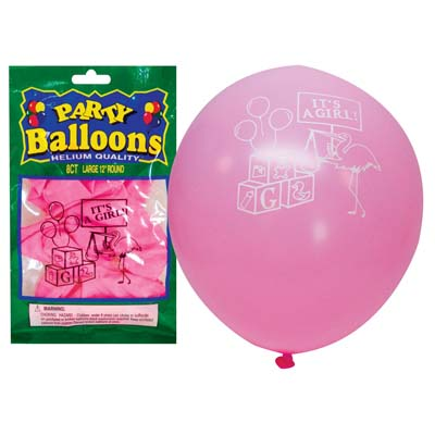 View BALLOON 8 PACK 12 INCH LARGE IT'S A GIRL