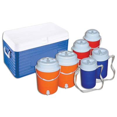 View INSULATED COOLER SET 7 PC - 13.5 GALLON COOLER/ 2-2 GALLON JUGS/ 2-0.65 GALLON JUGS/ 2- 0.35 GALLON JUGS