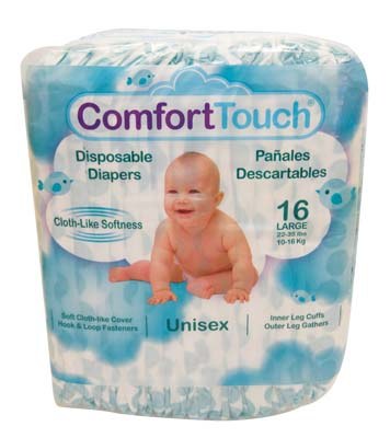View COMFORT TOUCH DISPOSABLE DIAPERS 16 CT LARGE 22-35 LBS **MADE IN USA**