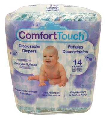 View COMFORT TOUCH DISPOSABLE DIAPERS 14 CT X-LARGE OVER 28 LBS **MADE IN USA**