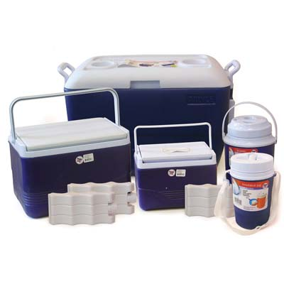 View COOLER SET 5 PIECE-13.35 GL COOLER W/WHEELS/ 3.75 GL COOLER/ 1.6 GL COOLER/ 0.65 GL JUG/ 0.35 GL JUG/ 3 BONUS ICE PACKS-RED & BLUE
