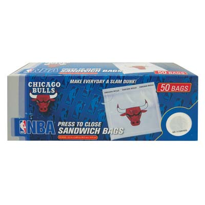 View SANDWICH BAGS 50 CT CHICAGO BULLS IN DISPLAY