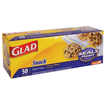 View GLAD SNACK BAGS 50 CT 6 5/8  X 3 1/4 INCH ZIPPER