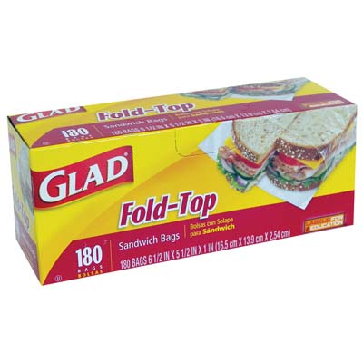 View GLAD FOLD TOP SANDWICH BAGS 180 COUNT  6 1/2  X 5 1/2  X 1 INCH