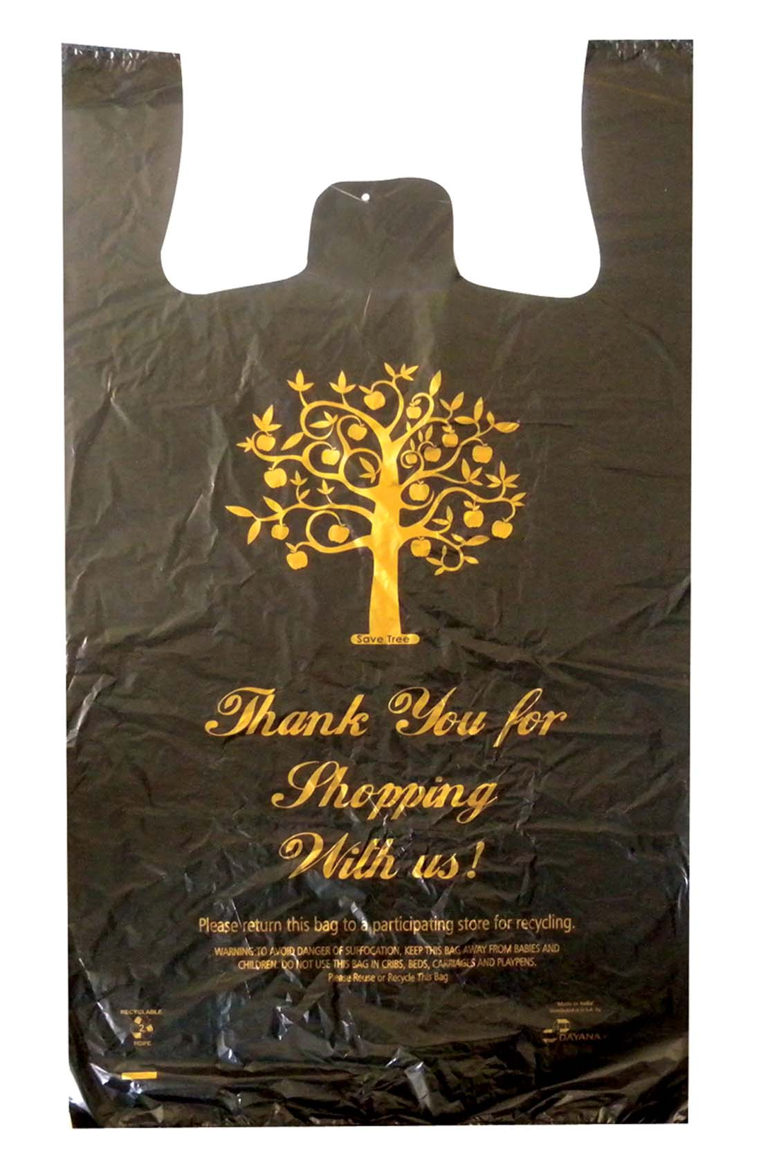 View SHOPPING BAG 250 COUNT 15 X 8 X 27 INCH LARGE THANK YOU PRINT BLACK