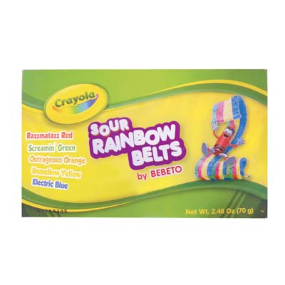 View CRAYOLA SOUR RAINBOW BELTS 2.46 OZ IN DISPLAY