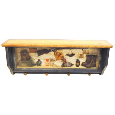 "View HUNTING THEME WINDOW BOX  WOODEN SHELF WITH HOOKS HAND MADE LARGE 26"" WIDE  X 10 INCH TALL"