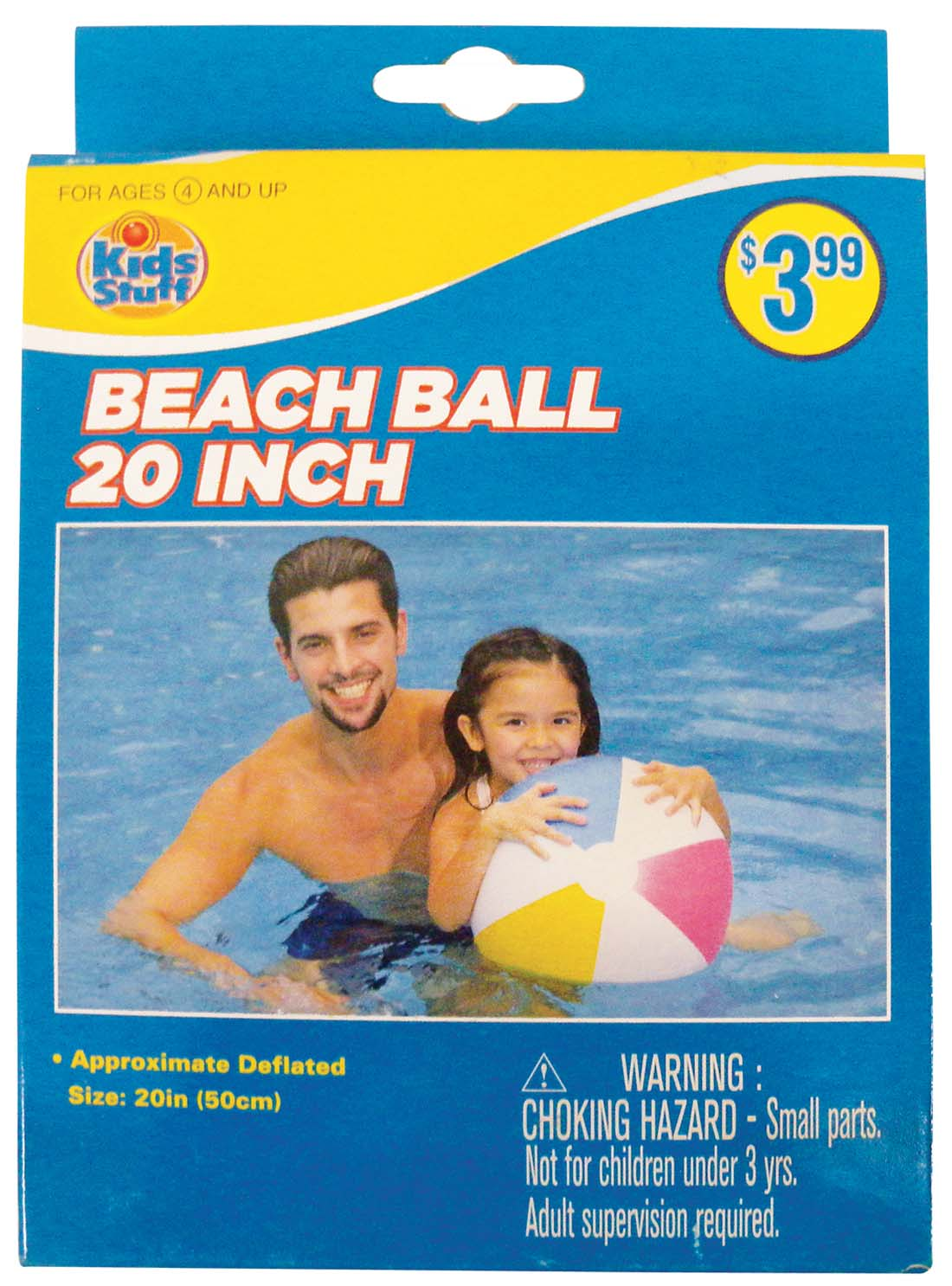 View BEACH BALL 20 INCH ASSORTED COLORS AGES 4+ PREPRICED $3.99