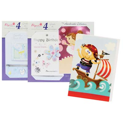 View HANDMADE CARD COLLECTION  4 CARDS & ENVELOPES IN DISPLAY BLANK