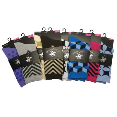 View BEVERLY HILLS POLO CLUB LADIES CREW SOCKS ASSORTED SIZES COLORS & PATTERNS