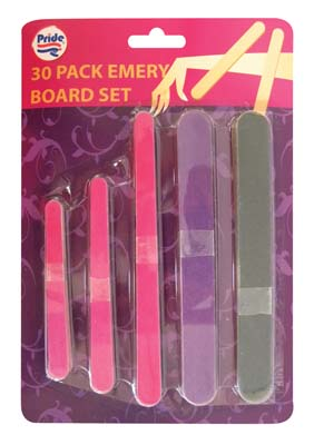 View EMERY BOARD SET 30 PIECE ASSORTED COLORS & SIZES