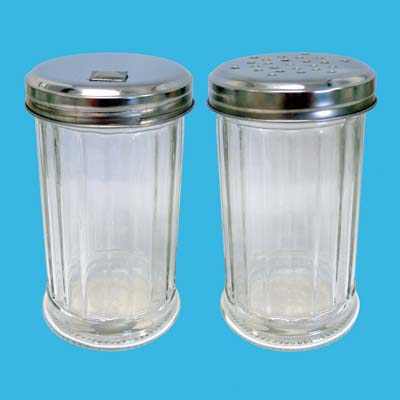 View GLASS PEPPER/SUGAR/SALT DISPENSER 5 INCH IN DISPLAY