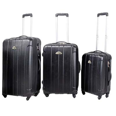 View HARD CASE LUGGAGE SET 3 PC WITH 360 DEGREE SWIVEL WHEELS- 20 & 24 & 28 INCH BLACK