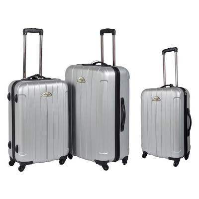 View HARD CASE LUGGAGE SET 3 PC WITH 360 DEGREE SWIVEL WHEELS- 20 & 24 & 28 INCH SILVER
