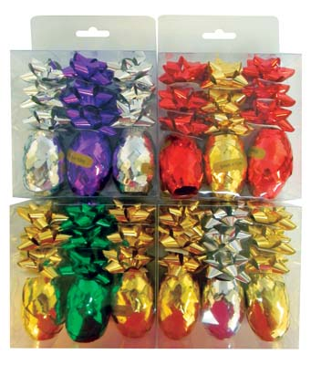View METALLIC BOWS & RIBBONS 9 -2 INCH BOWS + 3 -11 YARD X 5 MM RIBBON ASSORTED COLORS