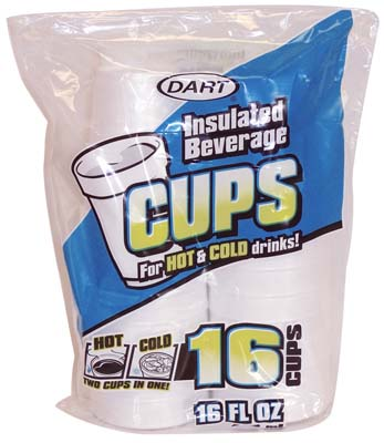 View DART INSULATED FOAM CUPS 16 CT 16 OZ