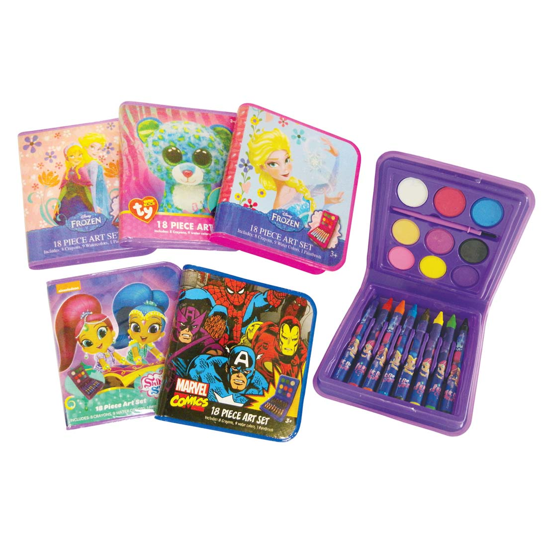 View LICENSED ART SET 18 PIECE INCLUDES 8 CRAYONS/ 9 WATERCOLORS/ 1 PAINTBRUSH AGES 3+ ASSORTED DESIGNS