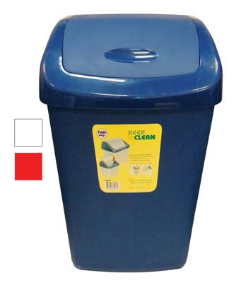 View TRASH BIN 13 GALLON WITH SWING TOP LID ASSORTED COLORS