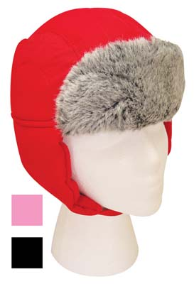 View FAMOUS BRANDS WINTER HAT KIDS WATERPROOF WITH FUR ASSORTED COLORS