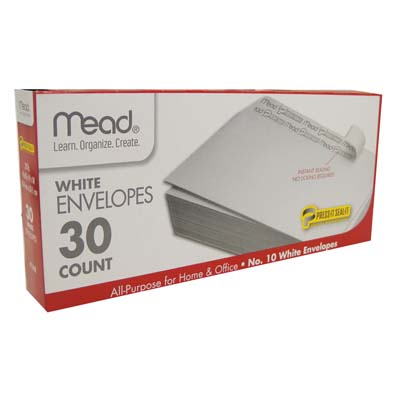 View MEAD ENVELOPES 30 CT #10 SELF-ADHESIVE WHITE *USA*