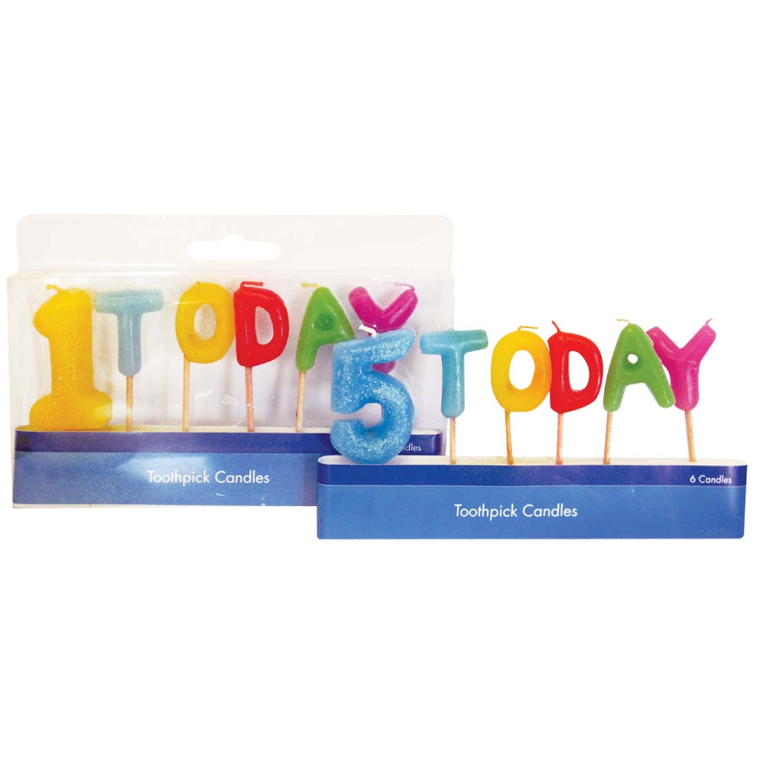 "View BIRTHDAY CANDLES AGES 1 THRU 5 ""TODAY"" THEME ON TOOTHPICKS"