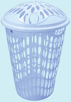 View LAUNDRY BASKET 14.50 GALLON WITH LID HEAVY DUTY BLUE
