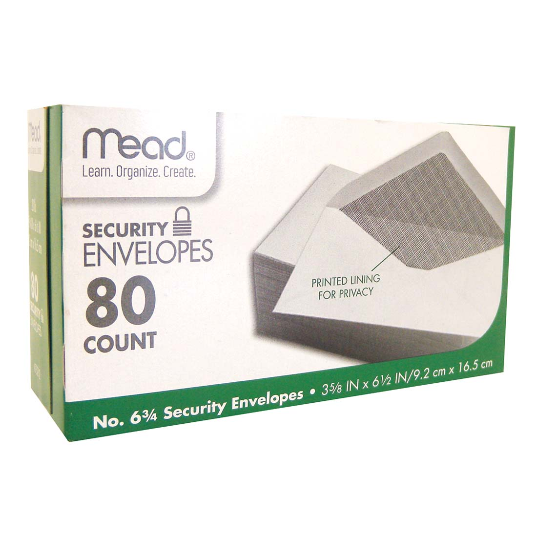 View MEAD SECURITY ENVELOPES 80 CT #6.75 WHITE *USA*