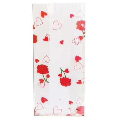 View CELLO BAGS 4 X 8 X 2 INCH SMALL MINI HEARTS & ROSE DESIGN