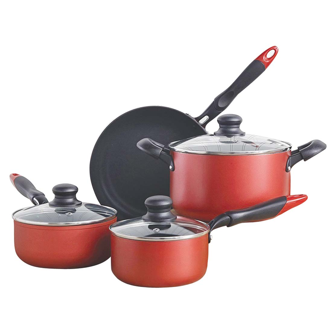 "View ""SUNBEAM"" ANDREO 7PC ALUMINUM COOKWARE SET ***SUPERIOR NON-STICK COATING***METALLIC BRICKTEMPERED GLASS LIDLIGHT WEIGHT BODYGAS ELECTRIC & GLASS STOVETOP SAFE"