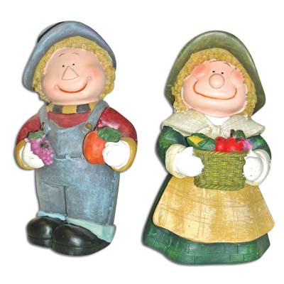 View POLYRESIN PILGRIM BOY/GIRL ASSORTED 5 INCH