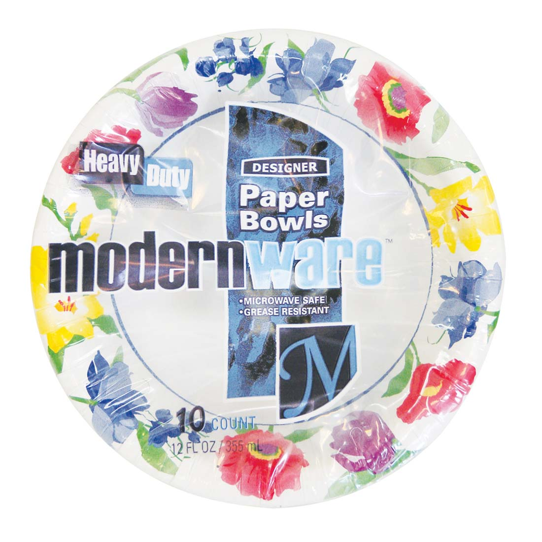 View MODERNWARE PAPER BOWL 10 CT 12 OZ HEAVY DUTY FLORAL DESIGN **MADE IN USA**