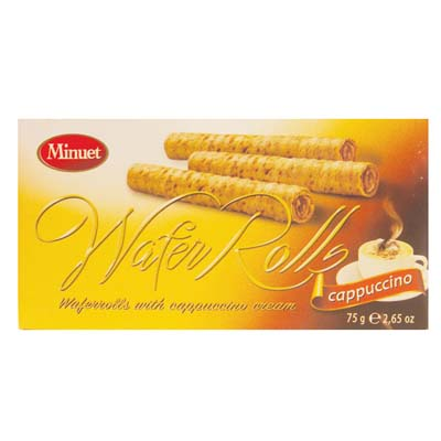 View MINUET WAFER ROLLS 2.65 OZ CAPPUCCINO IN DISPLAY