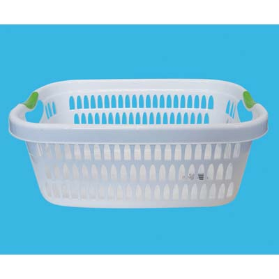 View LAUNDRY BASKET 22 X 16 X 9 INCH RECTANGULAR ASSORTED COLORED HANDLES