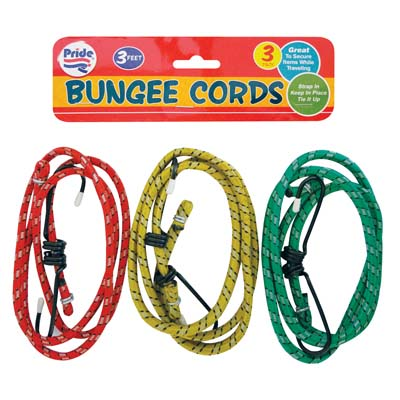 View BUNGEE CORDS 3 PACK 3 FEET ASSORTED COLORS