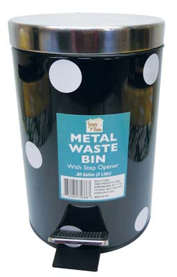 View METAL STEP-ON WASTE BASKET 0.8 GALLON WITH STEP OPENER ASSORTED DOT DESIGNS