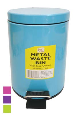 View METAL STEP-ON WASTE BASKET 0.8 G WITH STEP OPENER ASSORTED COLORS
