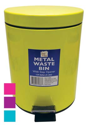 View METAL STEP-ON WASTE BASKET 1.3 GALLON WITH STEP OPENER ASSORTED COLORS
