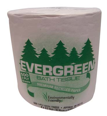 View EVERGREEN BATH TISSUE 500-2 PLY SHEETS
