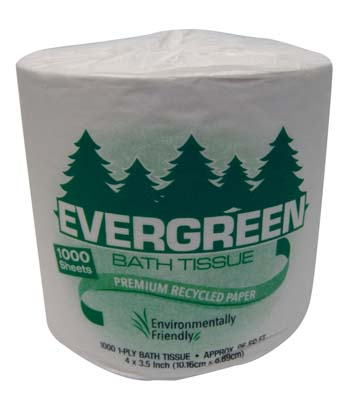 View EVERGREEN BATH TISSUE 1000-1 PLY SHEETS