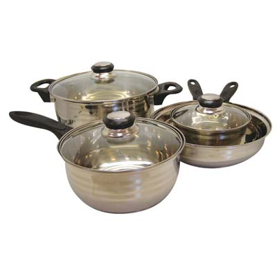 View GIBSON COOKWARE SET 7 PC STAINLESS STEEL INCLUDES 1 EACH-DUTCH OVEN 4 QT/SAUCE PAN 1.4 QT/SAUCE PAN 1 QT/ FRY PAN 9 INCH & 3 LIDS