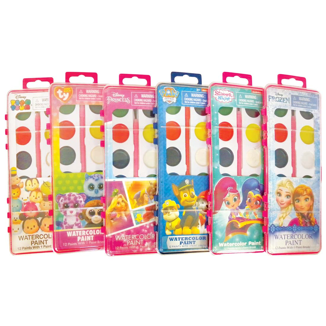 View LICENSED WATERCOLOR PAINT INCLUDES 12 PAINTS/ 1 PAINT BRUSH AGES 3+ ASSORTED DESIGNS