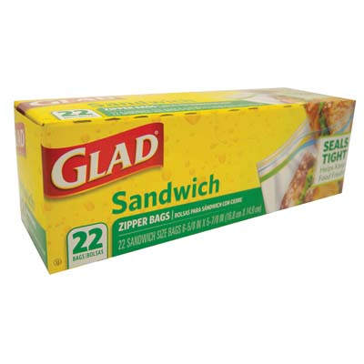 View GLAD SANDWICH BAGS 22 CT 7 X 6 INCHES ZIPPER