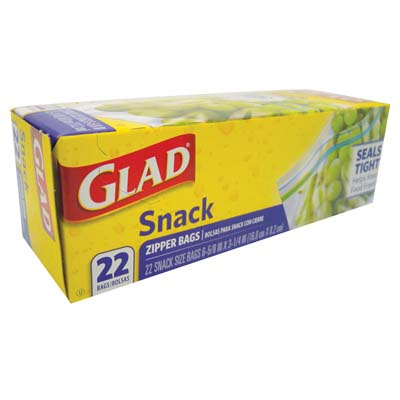 View GLAD SNACK BAGS 22 CT 7 X 3 INCHES ZIPPER