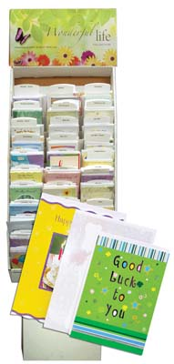 View GREETING CARDS 660 CARDS WITH 65 EVERY DAY ASSORTMENTS AND EMPTY CARDBOARD  DISPLAY- 1 BOX OF CARDS AND 1 DISPLAY
