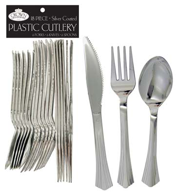 View CROWN DINNERWARE PLASTIC CUTLERY 18 COUNT COMBO SILVER COATED
