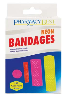 View PHARMACY BEST BANDAGES 100 CT NEON COLORS