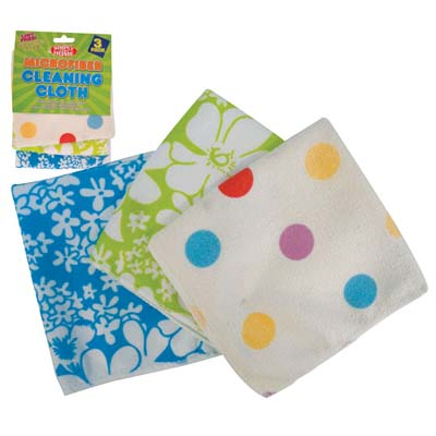 View CLEANING CLOTH 3 PACK 12 X 12 INCHES MICROFIBER FLORAL DESIGN ASSORTED COLORS
